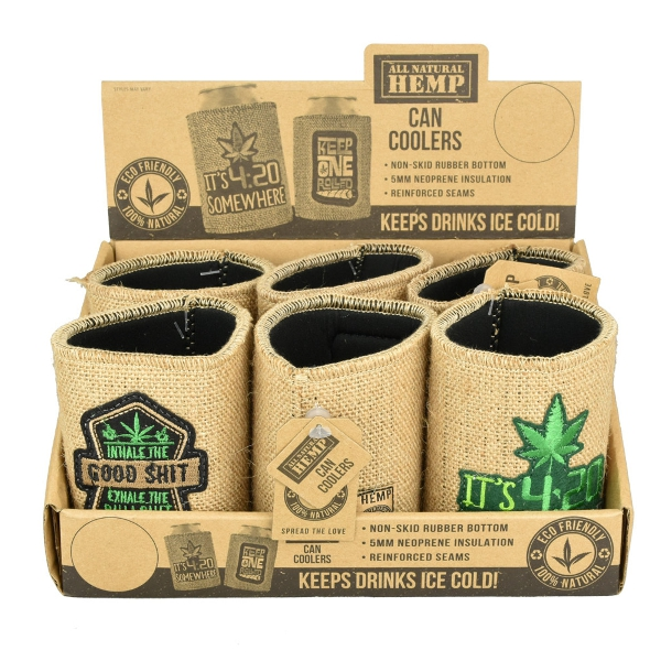 Hemp Burlap Neoprene Koozie | Assorted | 6pc