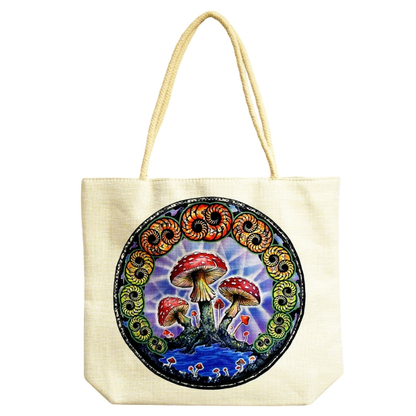 Jute Rope Handled Tote Bag | DuBois Mushrooms | 16...